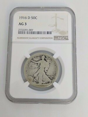 1916-D Walking Liberty Half Dollar 50C Coin - NGC AG 3 - 2732291-007