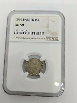 1916 Barber Dime 10c Coin NGC AU 58 - 2732291-026