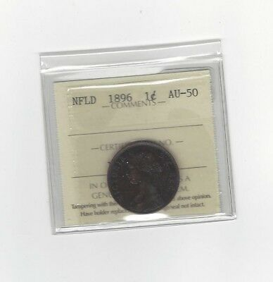 **1896**, ICCS Graded Newfoundland, Large One Cent, **AU-50**