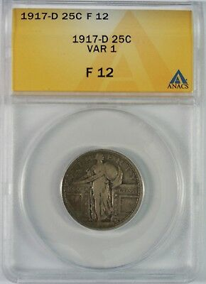 1917-D 25c Standing Liberty Silver Quarter ANACS F12 **Type 1**