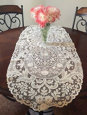 """Gorgeous Antique Victorian Fine Lace Table Runner Large 47"""" X 20"""" French Floral"""