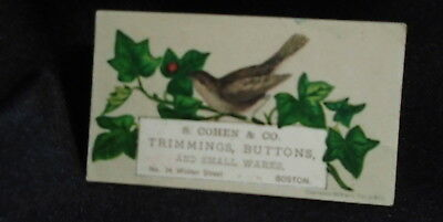 Antique Victorian Trade Card S. Cohen & Co. Trimmings Buttons Boston Mass  .