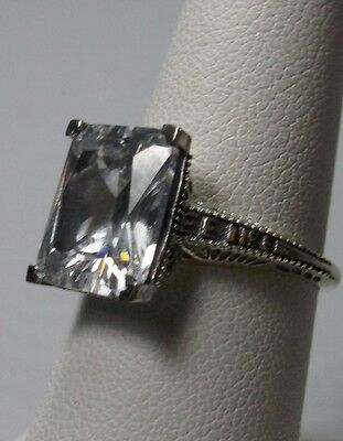 4ct White CZ Sterling Silver Art Deco Design Filigree Ring {Made To Order} #196