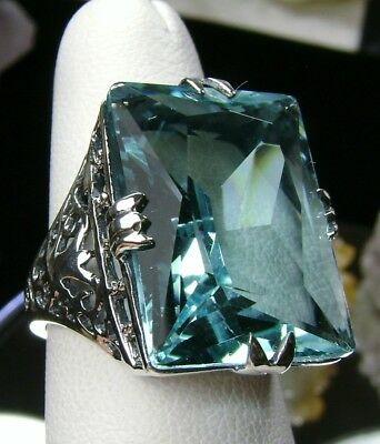 30ct Big*Aquamarine* Sterling Silver Vintage Filigree Ring Size: {Made To Order}