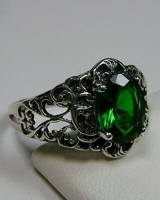 *Green Emerald* Sterling Silver Art Nouveau Filigree Ring Size: {Made To Order}