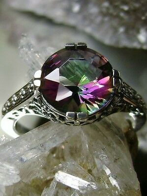 3ct Rainbow *Mystic Topaz* Sterling Silver Flower Filigree Ring [Made To Order]