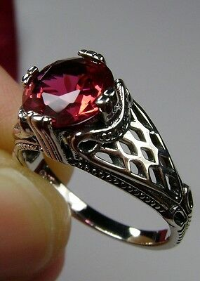 3ct Round *Red Ruby* Sterling Silver Art Deco Bow Filigree Ring {Made To Order}