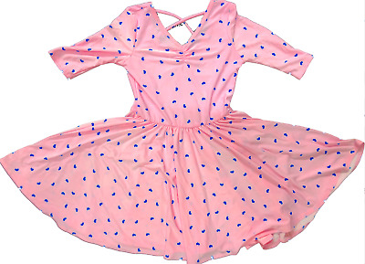 NEW Dot Dot Smile BALLERINA Twirly Dress 3/4 SLEEVE Knit Girl Kids Pink Hearts
