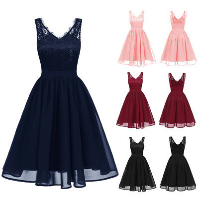 Women Ladies 50s Style Vintage Lace Chiffon Rockabilly Evening Party Swing Dress