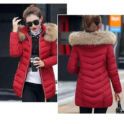 Women's Hooded Jacket Quilted Padded Puffer Fur Collar Warm Winter Parka Coat LG