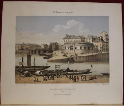 Nantes The Fish Shop France 1861 Arnout Antique Original Lithographic City View