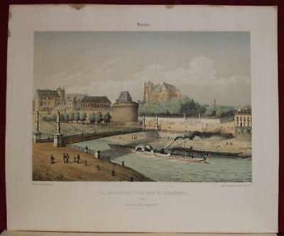 Nantes The Castle France 1861 Arnout Antique Original Lithographic City View