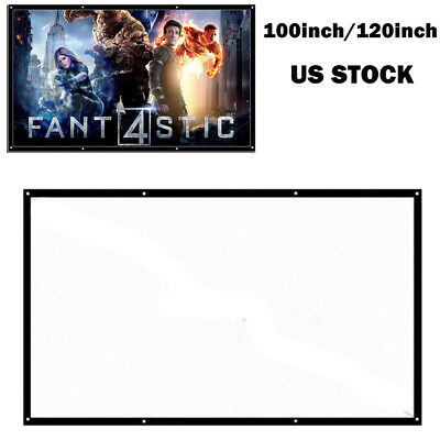 Portable Foldable Projector Screen 16:9 HD Home Theater Outdoor 3D Movie 100 120