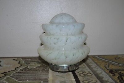 Antique Art Deco Marble Milk Glass Step Light Shade & Original Mounting Fitting