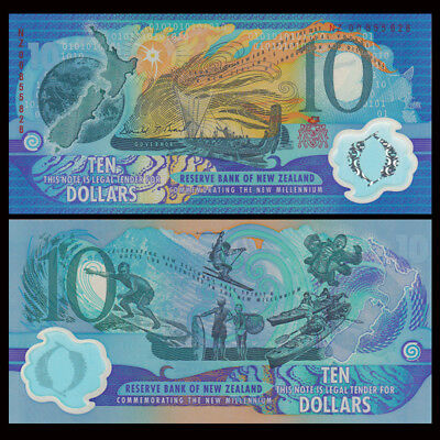 New Zealand 10 Dollars, 2000, P-190b, Polymer, Millennium, Red, UNC>COMM.