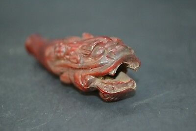 Vintage Collectible Chinese horn Handwork relief dragon pipe statue old carve