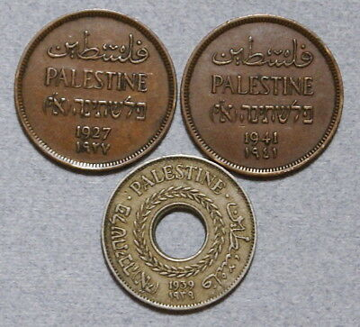 PALESTINE 1 & 5 Mils 1927,1939,1941 - Lot of 3 VF Coins, No Reserve!