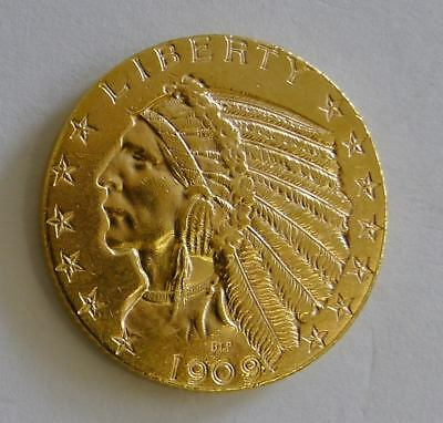 5 Dollars Gold USA 1909 D Indian Head Half Eagle Goldmünze