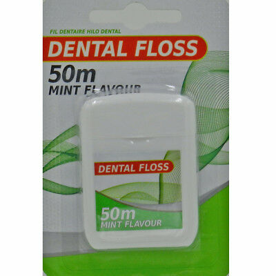 50M Mint Flavour Waxed Dental Floss Easy Grip Deep Clean Cleaning Essentials