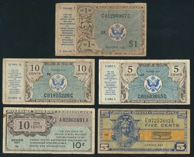 USA: MILITARY PAYMENT CERTIFICATE 1946-70 Colln 27 Different SUPERB STARTER LOT!