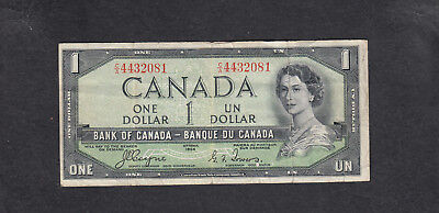 1954 Canada 1 Dollar Devil Face Bank Note Coyne / Tower