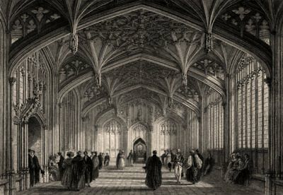 The Divinity School, Oxford, by John Le Keux 1837 old antique print picture