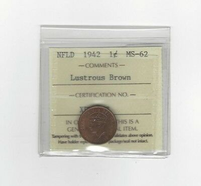 **1942**, ICCS Graded Newfoundland, Small One Cent, **MS-62**