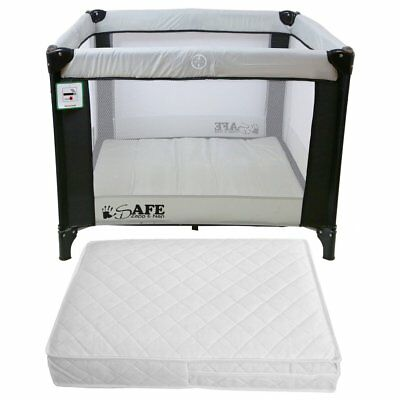 iSafe Zapp And Nap Luxury Square Travel Cot Playpen Black/Grey + Mattress
