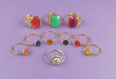 Selection of 10 Vintage c1960s Toy Rings - Old Unused Stock Lot B
