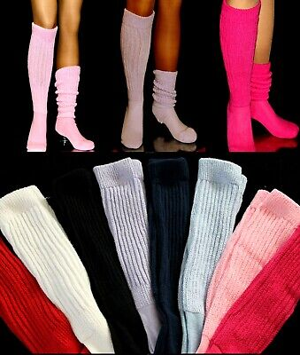 Costume SLOUCH SOCKS Extra Long Thick Ribbed Pick WHITE BLACK HOOTERS Uniform