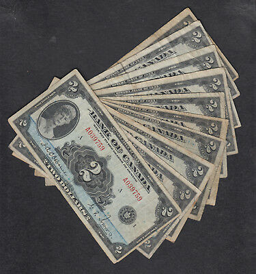 1935 Canada 2 Dollars Bank Note Lot Of 10