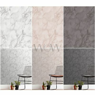 Fine Decor Marblesque Plain Marble Wallpaper - Rose Pink, White, Charcoal Grey
