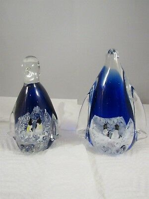 Pair Of Blown Glass Blue & White With Two Penguins Inside Each One - No Box