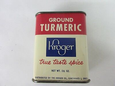 Vintage Kroger Brand Turmeric Spice Old  Tin Advertising Exc Condition S-957-B