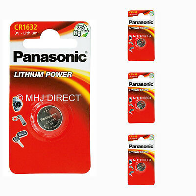 4 x PANASONIC CR1632 CR 1632 ECR1632 Lithium Batteries Coin Cell Use By 2028