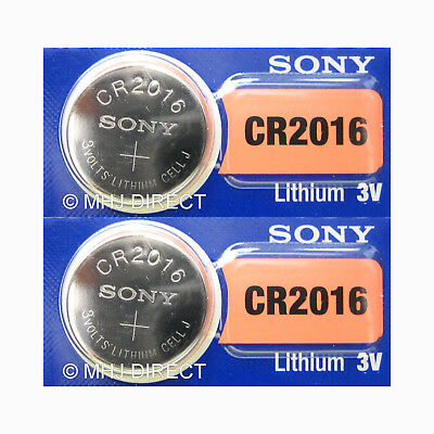 2 x SONY Lithium 3v Batteries CR2016 CR 2016 DL2016 Coin Cell Use By Date 2027