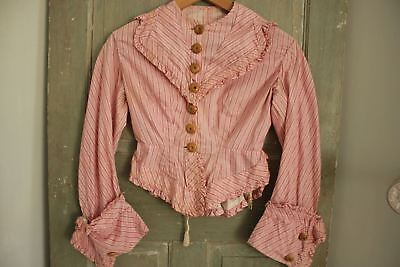 Antique French bodice pink shirt blouse striped clothing late 18th century small