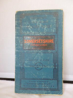 Somersetshire - Large Scale Road Map - Geographia - Cloth
