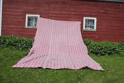 Antique French HUGE Vichy check fabric ~ faded pink ~ 1840 panel large curtain