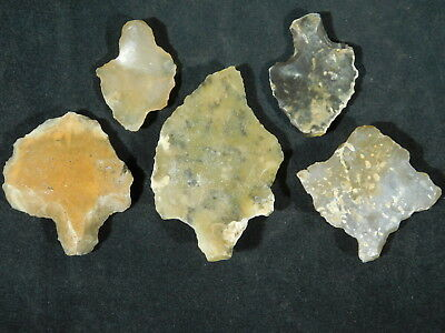 Lot of FIVE Nice! 55,000 to 12,000 Year Old Aterian Artifacts Algeria 62.3gr