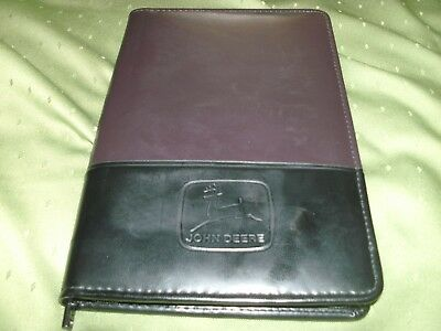 "John Deere Leed's Zippered Leather Notebook/journal/binder Black/brown 6.5""x9.5"""