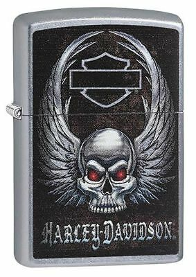 Zippo Unisex Harley Davidson Skull & Wing Lighter, Windproof Street Chrome