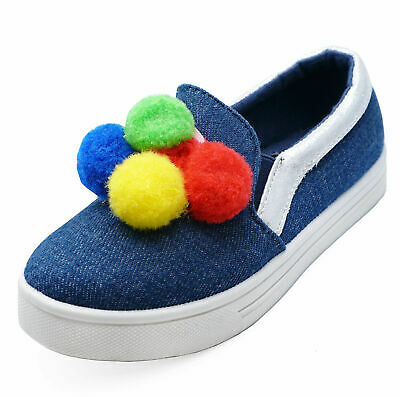 Girls Kids Childrens Blue Canvas Slip-On Comfy Plimsoll Pumps Trainers Shoes 8-1
