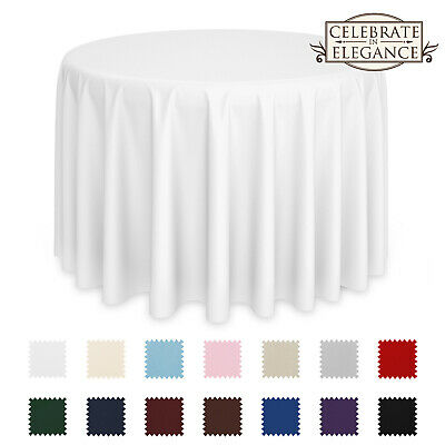 10 Pack Round Wedding Banquet Polyester Fabric Tablecloths (More Colors & Sizes)