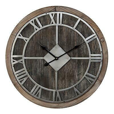 Vintage Style Wooden MDF Round Wall Clock Silver Metal Roman Dial 50cm