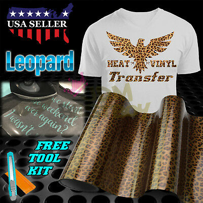 "Leopard Pattern Heat Transfer Vinyl HTV T-Shirt 20"" Wide Roll Iron On Heat Press"