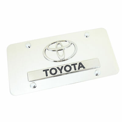 Toyota Logo + Name Badge On Polished Stainless Steel License Plate
