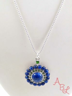 Sterling Silver Vintage 925 Ball Dot Linked Lapis Necklace 18'' (9.3g) - 724859