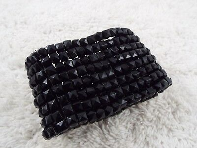 Black Acrylic Bead Stretch Bracelet (C18)