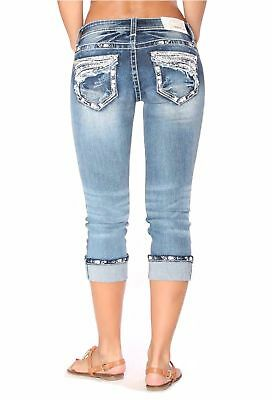 GRACE IN LA Capris Mid Rise Embellished Easy Cropped Jeans 26 27 28 29 30 31 32